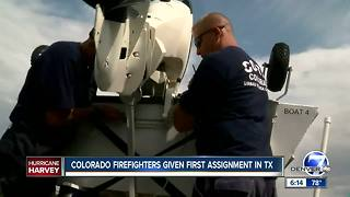 Colorado firefighters given first assignment in Texas following Hurricane Harvey - Video