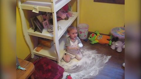 Baby Girl Spills Baby Powder On The Floor