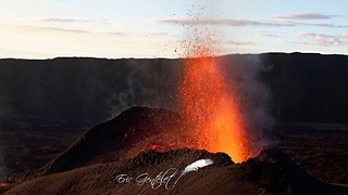 Lava Sprays Erupt From Piton de la Fournaise Volcano - Video