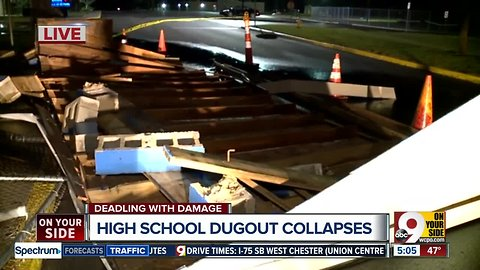 High School dugout collapses