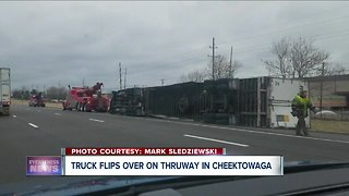 Tractor trailer blows over