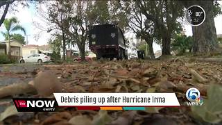 Debris piling up after Hurricane Irma - Video