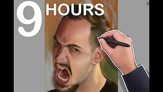 Realistic 'angry face' photoshop painting time lapse will blow your mind