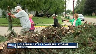 Cleanup efforts underway in Lomira, following severe storm
