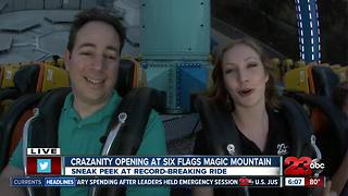 23ABC at Six Flags New ride Crazanity Opening - Video