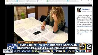College student uses huge index card for test - Video