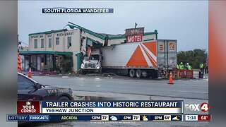 Truck crashes into historic Yeehaw Junction building