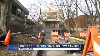 Stolen car chase ends in crash outside UW-Milwaukee Student Union - Video