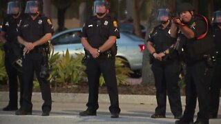 Non-lethal force used by Tampa police at protesters near Curtis Hixon Park