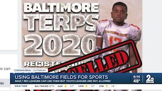 Using Baltimore fields for sports