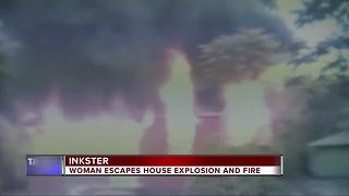 Inkster woman escapes flames that engulf her home after explosion - Video