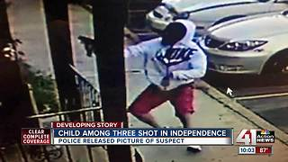 Child among 3 shot in Independence, police search for suspect - Video