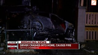 Driver crashes into home, causes house fire