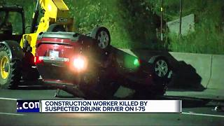 Construction worker hit and killed on I-75 in Detroit by alleged drunk driver - Video