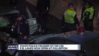 Michigan State Police cruiser hit on I-96 in Detroit - Video