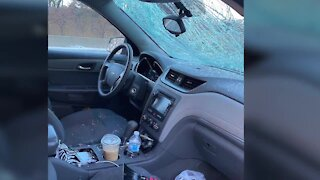Woman's windshield smashed by ice