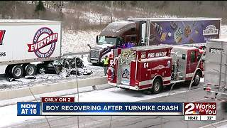 UPDATE: boy recovering after icy Super Bowl Sunday turnpike crash - Video