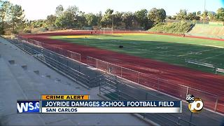 Joyride damages school football field - Video