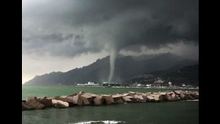Waterspout Nears Salerno Port in Southern Italy - Video