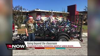 Hillsborough County teacher collects gently used bikes to fix and donate to students - Video