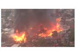 Major Fire in Residential Neighborhood of Manila - Video