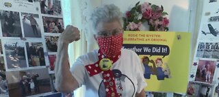 'Rosie the Riveter' making face masks