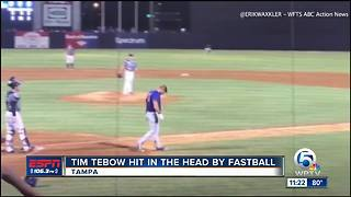 Tim Tebow gets head in head by baseball, stays in game - Video