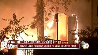 Power lines possible linked to wine country fires