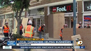 Carpenters volunteer to help San Diego owners protect businesses