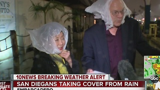 San Diegans taking cover from rain - Video