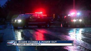 Roads closed, power out in Fond du Lac County - Video