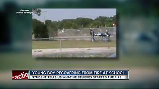 Student burned in school fire, taken to hospital - Video