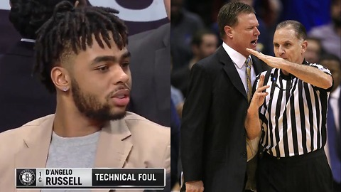 D'Angelo Russell Gets Hit with a Technical Foul Even Though He's INACTIVE