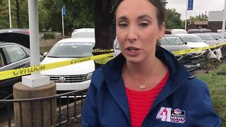 Cars at a Volkswagen dealership are totaled from flash flooding - Video