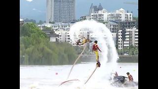Amazing water jet pack performance on Daughter's Day - Video