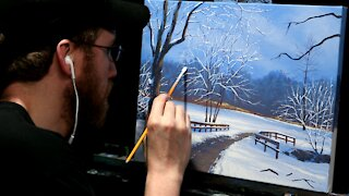 Acrylic Landscape Painting of a Snowy Path - Time-lapse - Artist Timothy Stanford