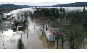Aerial Footage Shows Ohio River Inundating Kentucky Town