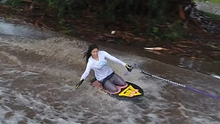 Friends Go Waterskiing on Flooded California Streets - Video
