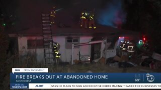 Abandoned home catches on fire