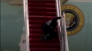 Biden Falls 3 Times Trying To Climb Stairs To Air Force One