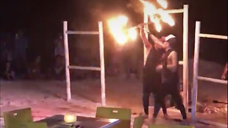 watch the guy dancing with fire - Video
