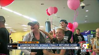 Family, friends welcome home cancer patient stuck  in Houston by Hurricane Harvey - Video