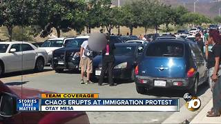 Chaos erupts at immigration protest - Video