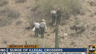 Watch groups report surge in people trying to cross Mexico border into U.S. - Video