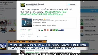 Arundel High School students sign racist petition - Video