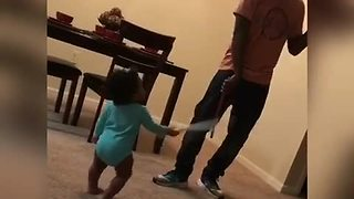 Awesome Dad Engages His Toddler Daughter In An Epic Sword Fight - Video