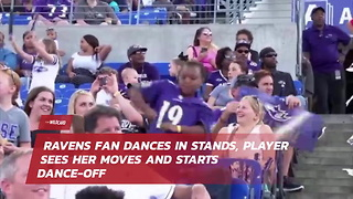 Ravens Fan Dances In Stands, Player Sees Her Moves And Starts Dance-Off - Video