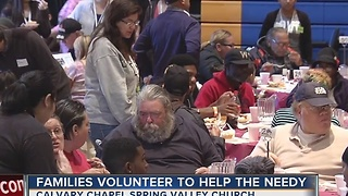 Families volunteer to feed homeless at Calvary Chapel - Video