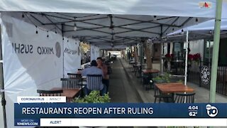 Restaurant reopen after ruling