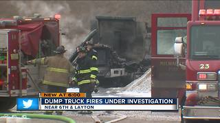 Dump trucks burst into flames on Milwaukee's South side - Video